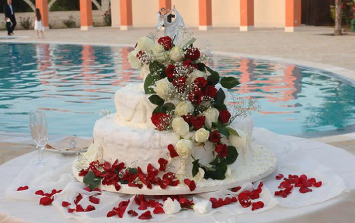 Taglio torta nuziale a bordo piscina